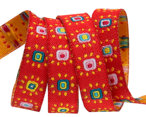 Mini suns on red ribbon Odile Bailloeul