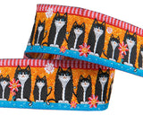 "Black cats on orange 7/8"" woven Jacquard Odile Bailloeul ribbon"