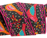 "Red and Orange Birds on Black 1-1/2"" woven Jacquard Odile Bailloeul ribbon"