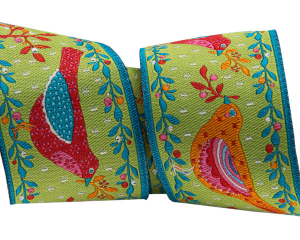 "Red and Orange Birds on Green 1-1/2"" ribbon"