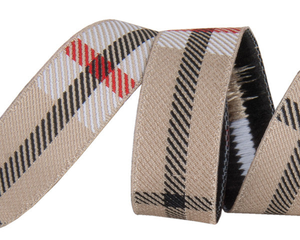 "Tan woven Plaid  5/8"" wide by Jessica Jones."
