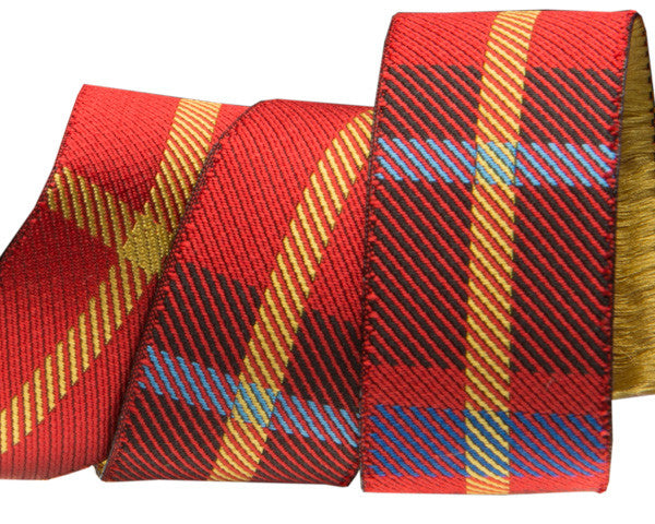 "Red Plaid 7/8"" woven jacquard ribbon"