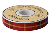 "Red Plaid 7/8"" woven jacquard ribbon spool"