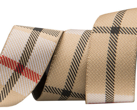 "Tan Plaid 7/8"" woven jacquard ribbon"