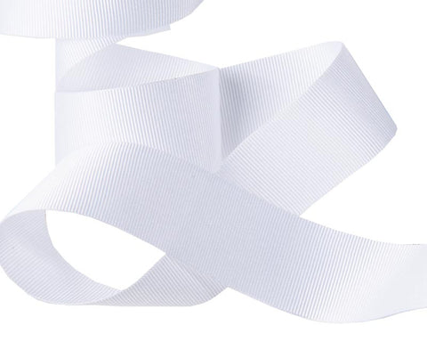 French Silky Gros Grain ribbon White