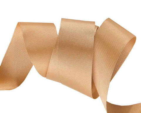 French Silky Gros Grain ribbon Camel