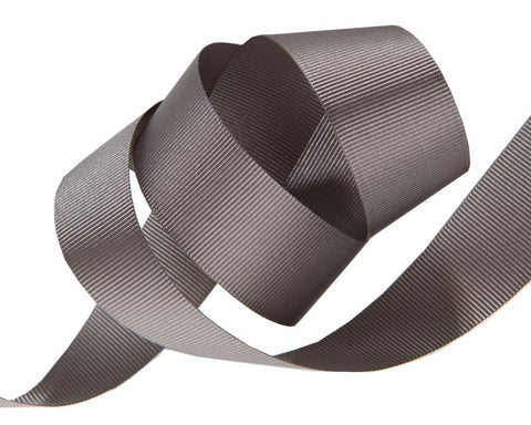 French Silky Gros Grain ribbon Pewter