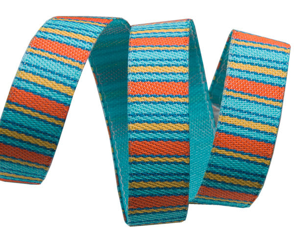 "Turquoise/Orange Mini Stripes-3/8"" Sue Spargo"