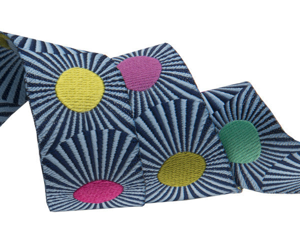 Slow and Steady Collection- Clear Skies Design -Tula Pink-Navy Bluestripes and dots 7/8""