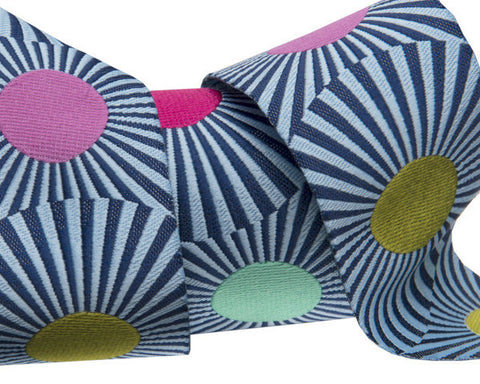 Tula Pink-Slow and Steady- Wide Navy Blue stripes and dots 1-1/2""