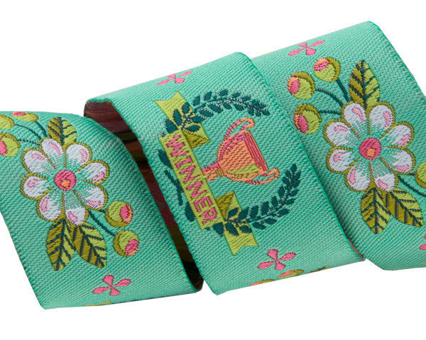 "The Winner on mint 7/8"" by Tula Pink- Coordinated to the designs of Slow and Steady Fabric Collections for Free Spirit Fabrics"