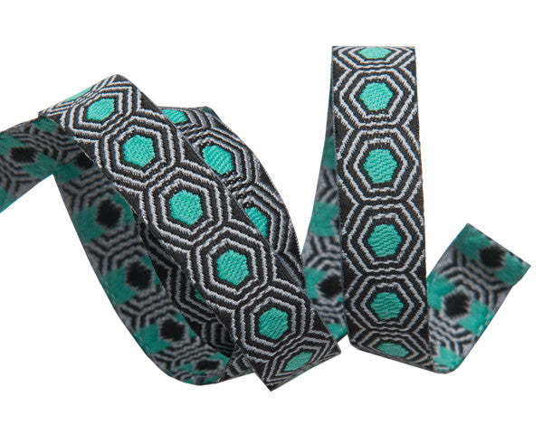 "Tiny Mint Tortoise dots on Black 3/8"" by Tula Pink"