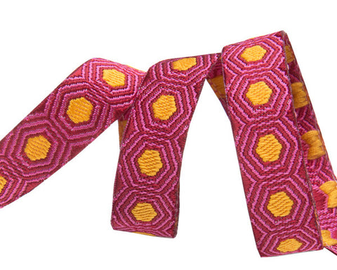 "Tiny Gold Tortoise dots on Burgundy 3/8""  by Tula Pink"