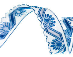 Blue Scallop Edge Vintage Cotton Ribbon