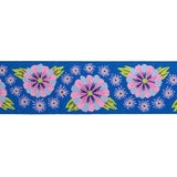"Wide Blue Embroidered Flower Row - 1-1/2"" - Kaffe Fassett"