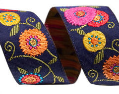 Suzani Flowers Ribbon by LFN Textiles