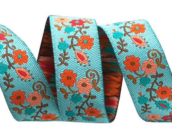 Orange on Turquoise Mini Suzani Floral - LFN Textiles