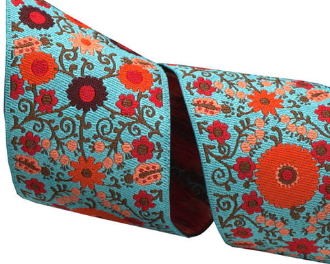 Orange on Turquoise Suzani - LFN Textiles