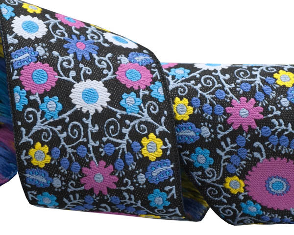 Pink/Blue on Black Suzani - LFN Textiles