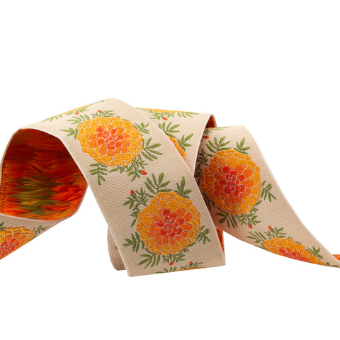 "Cream Marigold - LFN Textiles - 1-1/2""- by the yd"