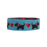 Scotties and hearts on Blue-Mary Engelbreit - 7/8""