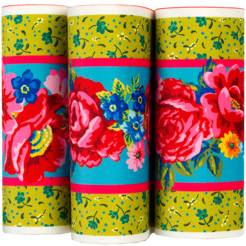 Pink roses on Green- Printed Velvet Border-Wholesale 6 Packs