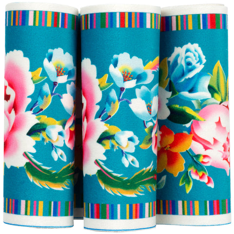 Shanghai on Turquoise- Printed Velvet Border-Wholesale 6 Packs