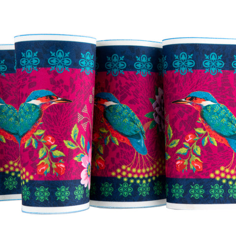 Exotic KingFisher Bird- Printed Velvet Border-Wholesale 6 Packs