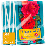 Red Peonies on Turquoise - Printed Velvet Border-Wholesale 6 Packs