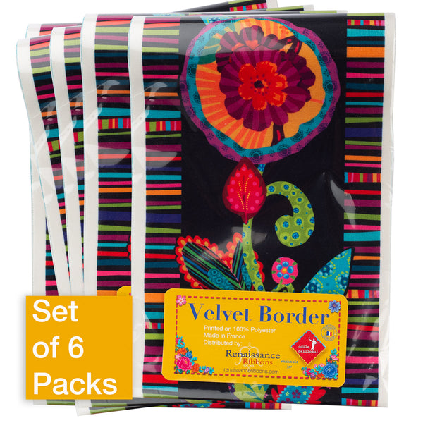 Fleury-Floral Design on Black - Printed Velvet Border-Wholesale 6 Packs