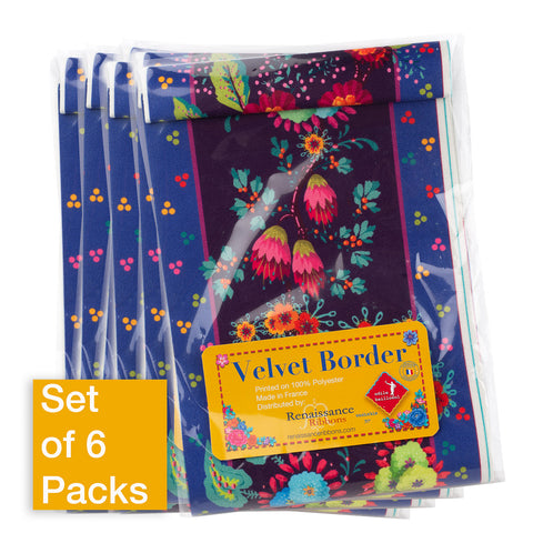 Enchanted Flowers on Purple - Printed Velvet Border-Wholesale 6 Packs