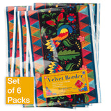 Wide Fairy Tales Birds on Black - Printed Velvet Border-Wholesale 6 Packs