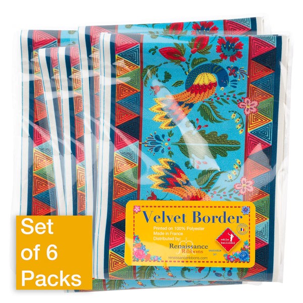Wide Fairy Tales Birds on Blue - Printed Velvet Border-Wholesale 6 Packs