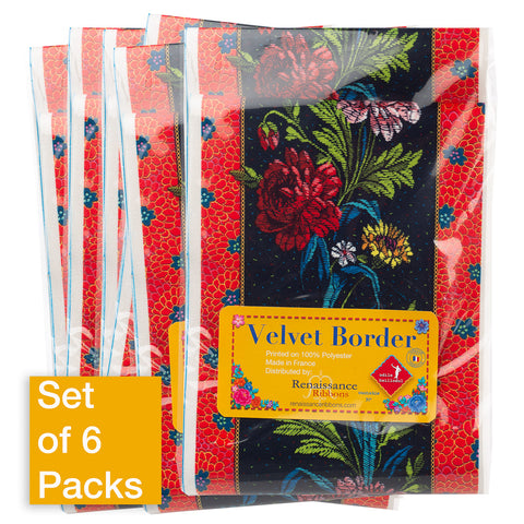 Wide Country Flowers on Black - Printed Velvet Border-Wholesale 6 Packs