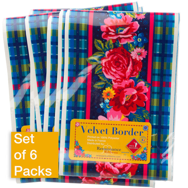 Wide Plaid and Floral on Indigo - Printed Velvet Border-Wholesale 6 Packs