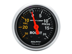 AutoMeter Sport-Comp 2-1/16 Boost / Vacuum Gauge, 30 IN HG / 20 PSI, Mechanical (3301)