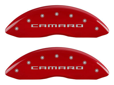 MGP Front Brake Caliper Covers 2010-2015 Chevy Camaro SS (Red Finish / Camaro Gen 5/6 Engraving)