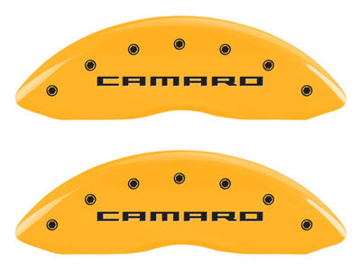 MGP Front Brake Caliper Covers 2010-2015 Chevy Camaro LS / LT (Yellow Finish / Camaro Gen 5/6 Engraving)