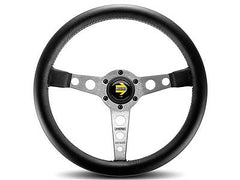 Momo Prototipo Black Leather Silver Spoke 350MM Steering Wheel