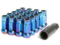 Muteki SR48 Series Burned Blue Lug Nuts 20 PC (12x1.25, Extended Open End)