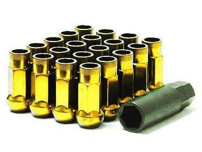 Muteki SR48 Series Gold Chrome Lug Nuts 20 PC (12x1.25, Extended Open End)