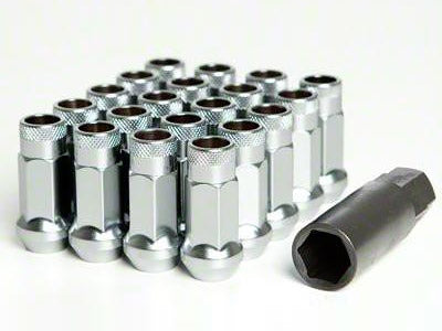Muteki SR48 Series Silver Lug Nuts 20 PC (12x1.25, Extended Open End)