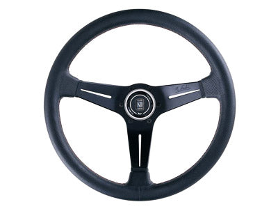 Nardi Deep Corn Steering Wheel 350MM (Black Leather / Black Spokes / Red Stitching)