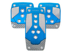 NRG Brushed Aluminum Sport Pedal Blue w/ Silver Carbon M/T