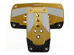 NRG Brushed Aluminum Sport Pedal Chrome Gold w/ Black Carbon A/T