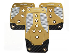 NRG Brushed Aluminum Sport Pedal Chrome Gold w/ Silver Carbon M/T
