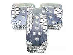 NRG Brushed Aluminum Sport Pedal Gun Metal w/ Silver Carbon M/T