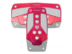 NRG Brushed Aluminum Sport Pedal Red w/ Silver Carbon A/T