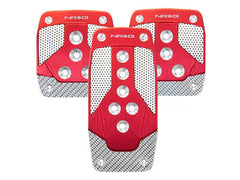 NRG Brushed Aluminum Sport Pedal Red w/ Silver Carbon M/T