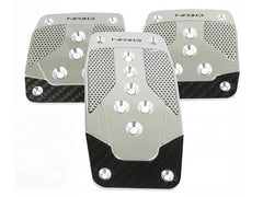 NRG Brushed Aluminum Sport Pedal Silverl w/ Black Carbon M/T